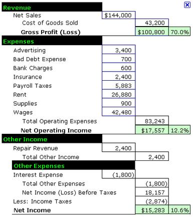 Sample Income Statement.