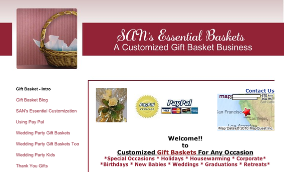 Home page, SAN's Essential Gift Baskets.
