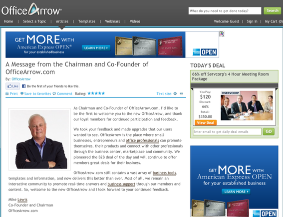 Welcome message from OfficeArrow.com founder Mike Lewis.