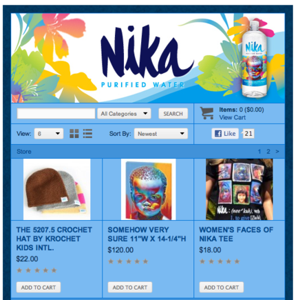 Nika Water, a non-profit organization, uses TabJuice for its Facebook store.