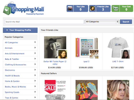 Payvment's shopping mall aggregates products from individual Facebook stores.