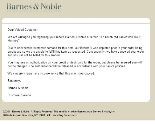 "Thousands of Barnes & Noble customers received a simple, apologetic email saying inventory was depleted. Many were irritated over the use of the term ""unexpected demand,"" as the flurry of consumers seeking the deal was not a shock to the industry."