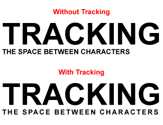 Tracking is uniform spacing between all letters.