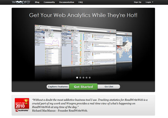 Woopra provides easy to filter web analytics data.