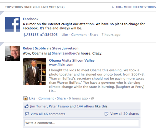 Facebook's News Feed now contains top and recent news in one stream.