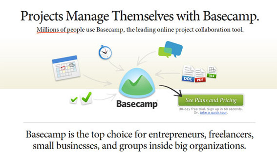 37Signals' Basecamp landing page encourages visitors to convert.