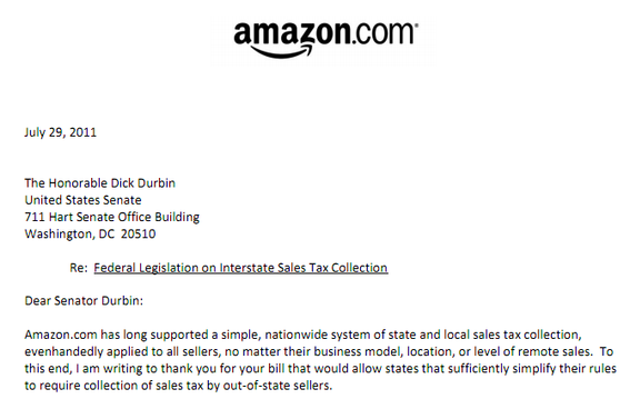 "An Amazon executive, Paul Misener, wrote a letter to Sen. Durbin expressing Amazon's support for his proposed ""Mainstreet Fairness Act."" Click on the image for a full PDF of the letter."