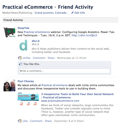 Friend Activity allows users to see how Friends interact with a Page.