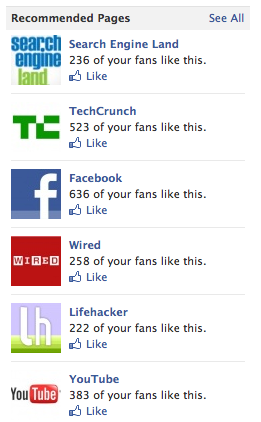 When using Facebook as the Page, you can see Pages others have recommended.