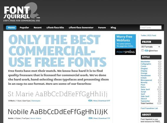 Font Squirrel is a good resource for free commercial-use fonts.