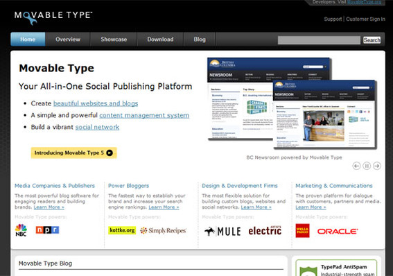 Moveable Type is a powerful publishing platform.