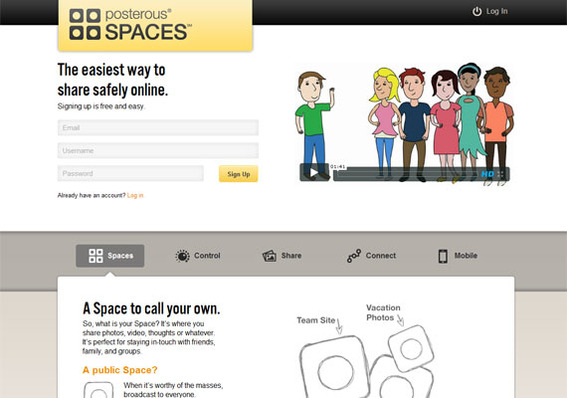 Posterous Spaces gives you control over how content is shared.