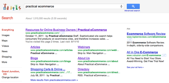 "Google search results for ""practical ecommerce."""