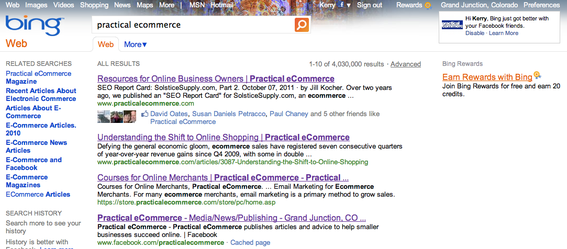 "Bing search results for ""practical ecommerce."""