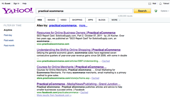 "Yahoo! search results for ""practical ecommerce."""