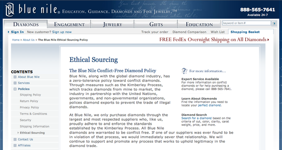 "Blue Nile sells expensive jewelry. Its ""Ethical Sourcing"" page explains where its products come from."