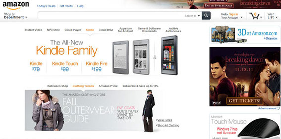 The new Amazon site demonstrates several current trends in site design.