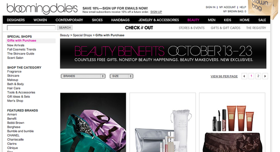 Bloomingdale's uses a top rotating text banner to promote specials, and also uses colorful banners to advertise gift offers.