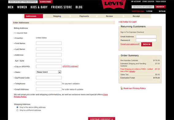 Forms, such as this one from Levi's, lie between a user and what that user wants.