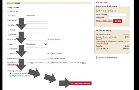 The Levi's checkout form has a clear path to completion.