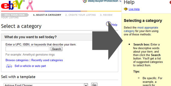 "eBay's ""sell an item"" form is a good example of using help text."