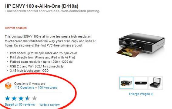 """Questions & Answers"" link is prominently displayed on Apple.com's HP Envy 100 product page."