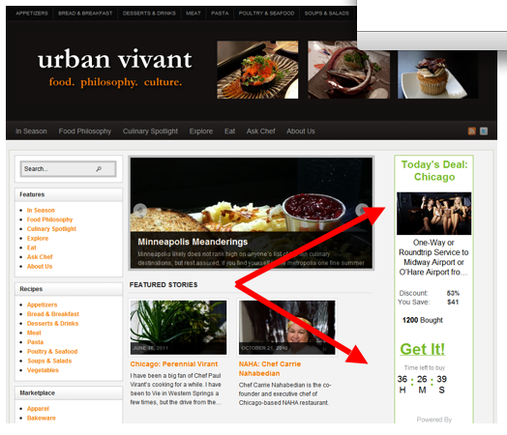 Urban Vivant — a food-related blog — runs a affiliate ad from Groupon on the right side of its site.