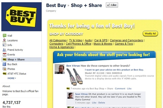 Best Buy's Facebook page targets younger customers