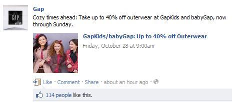 Gap uses Facebook to share promotions and drive extra traffic.