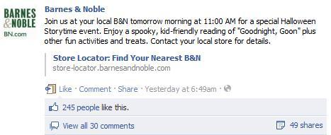 Barnes & Noble uses Facebook to promote in-store events.