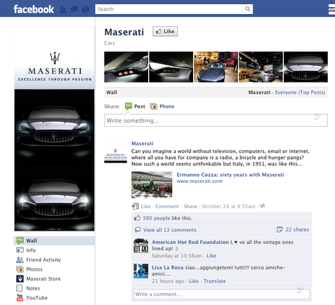 Maserati provides information on Facebook about its products, but doesn't attempt to sell them directly.