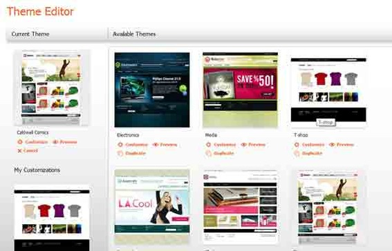 Magento Go has a few attractive themes to choose from.