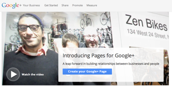Google+ now offers Pages for business.