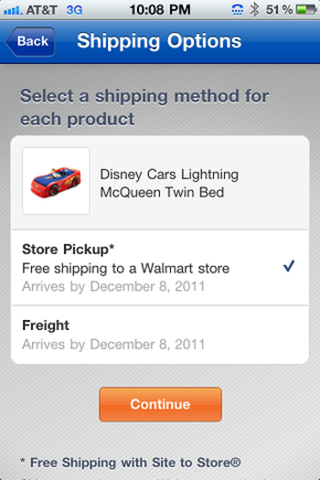Walmart allows you to select in-store pickup when you place your order from a mobile phone.