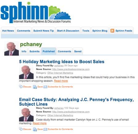 Sphinn focuses on news for online marketers.