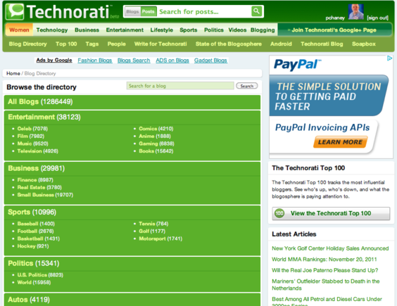 Technorati is a well-known blog directory.