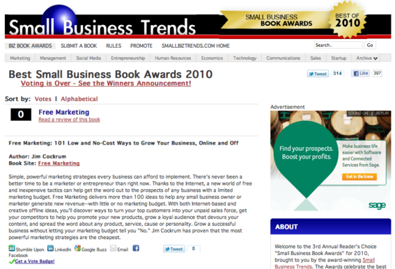 Small Business Trends uses Pligg to showcase its book awards.