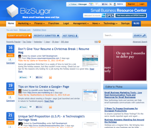 BizSugar aggregates news of interest to small business.