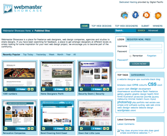 Webmaster Showcase allows freelance web designers to share designs.