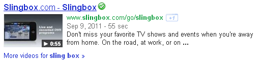 "Search results for ""Slingbox"" showing a video on Slingbox.com."