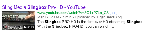 "Search results for ""Slingbox"" showing a video on YouTube."