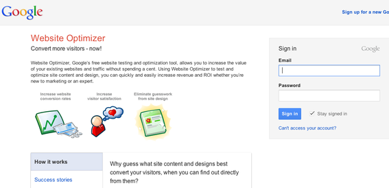Google Website Optimizer is a free service for website testing.