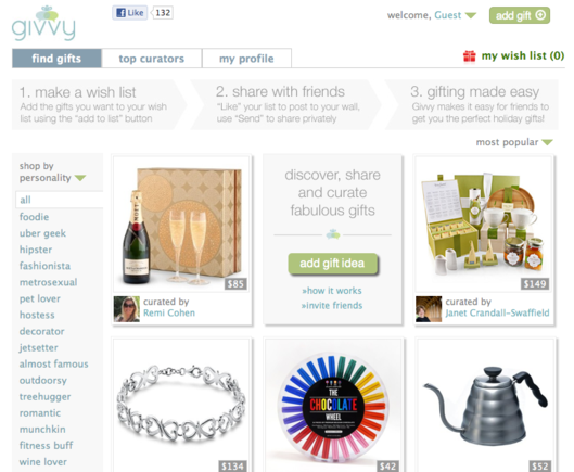 Givvy is a Facebook social shopping application focused on curation.