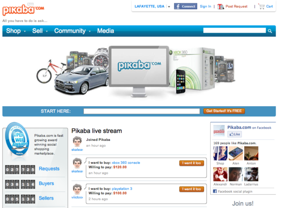Pikaba allows merchants to set up an account and list products.