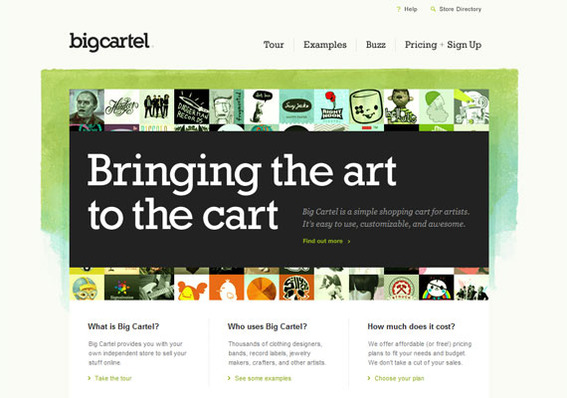 BigCartel is a SaaS shopping cart specifically for artists.