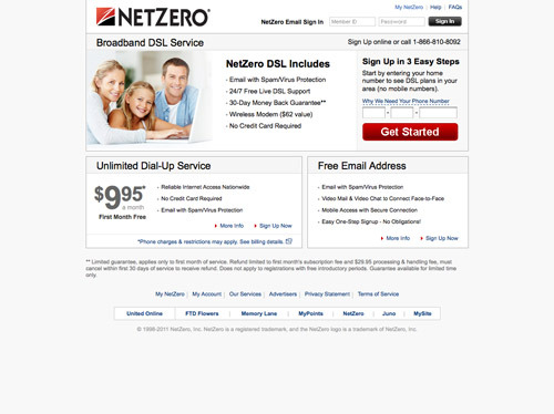 20 top internet service providers practical ecommerce for Netzero email
