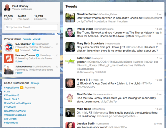 Twitter's new layout changes the column structure; the main column is now on the right.