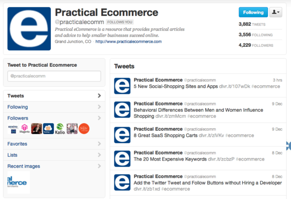 Practical eCommerce Twitter layout.