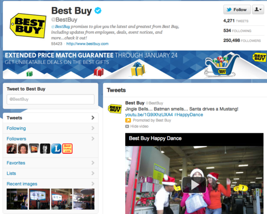 Best Buy is among select group of companies to sport the new Twitter brand page layout.