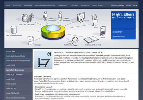 Among its many features, Hybris B2C Commerce offers centralized product and price management.
